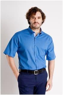Uni overhemd korte mouw van Plus Man.
