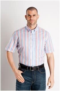 Katoenen gestreept korte mouw overhemd van Casamoda