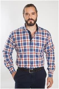 Lange mouw ruiten overhemd twill van Plus Man