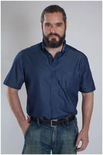 Jeans overhemd korte mouw Casamoda