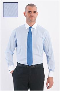 Dress overhemd fijn streepje lange mouw, witte boord.