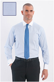 Extra lang dress overhemd fijn streepje lange mouw, witte boord.
