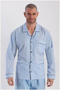 Katoenen gestreepte pyjama met knopen