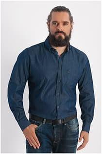 Denim overhemd lange mouw Plus Man