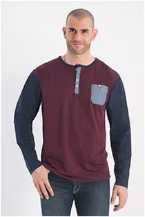 Lange mouw katoenen Serafino t-shirt van Forestal