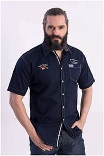 Effen korte mouw overhemd van Kitaro