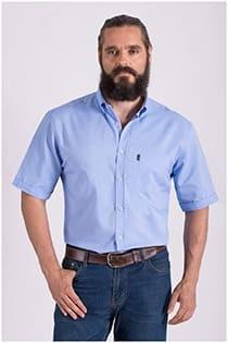 Uni oxford vrijetijdsoverhemd korte mouw Plus Man