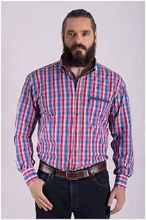 Katoenen lange mouw ruiten overhemd Plus Man