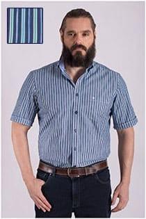 Korte mouw streepjes overhemd Casamoda