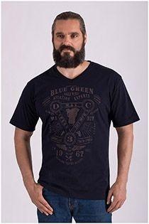 Korte mouw t-shirt Blue Green v-hals