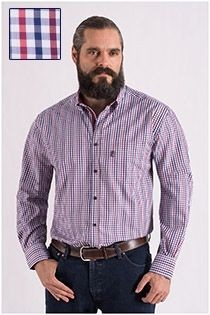 Ruiten lange mouw overhemd Plus Man