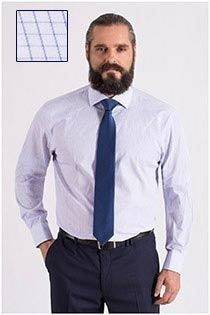 Plus Man extra lang dress overhemd ruitje