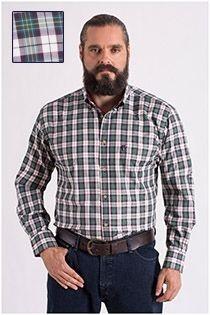 Ruiten lange mouw overhemd Plus Man visgraat