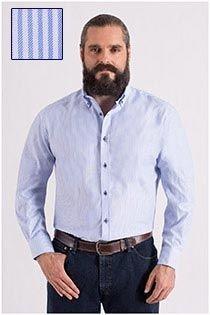 Gestreept vrijetijdsoverhemd van Plus Man