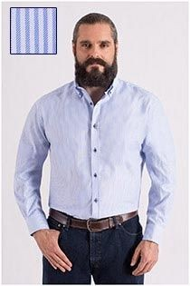 Gestreept extra lang vrijetijdsoverhemd van Plus Man