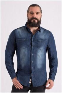 Extra lang overhemd van D555 gewassen denim