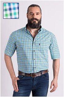 Extra lang Plus Man ruiten korte mouw vrijetijdsoverhemd