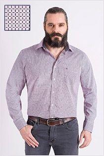 Katoenen bedrukte lange mouw overhemd van Casamoda