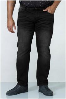 Extra lange elastische Black Denim Jeans van D555.