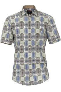 Casamoda korte mouw overhemd allover print