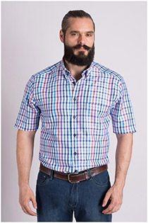 Geruit korte mouw overhemd van Plus Man