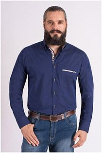 Effen lange mouw overhemd Plus Man