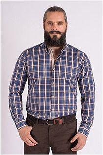 Ruiten lange mouw overhemd van Plus Man
