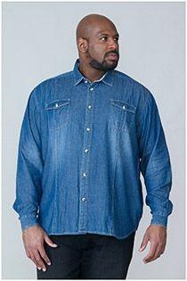 Denim overhemd lange mouw van D555
