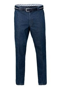 Stretch-jeans met riem van Luigi Morini.
