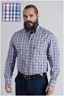 Plus Man lange mouw ruiten overhemd