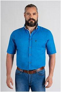Linnen-look uni overhemd korte mouw van Plus Man.