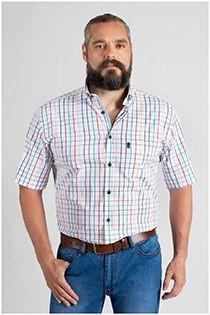 Korte mouw ruiten vrijetijdsoverhemd Plus Man