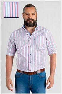 Korte mouw gestreept overhemd Plus Man