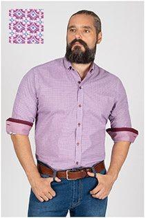 Plusman bedrukt extra lange mouw overhemd