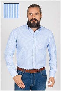 Lange mouw gestreept oxford overhemd Plusman