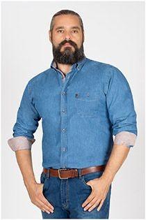 Plusman lange mouw jeansoverhemd