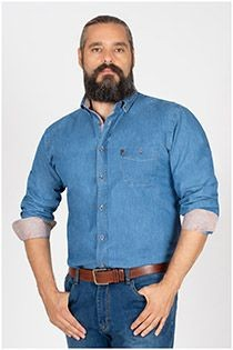 Extra lang jeansoverhemd van Plusman