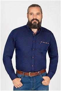 Effen extra lange mouw overhemd van Plus Man.