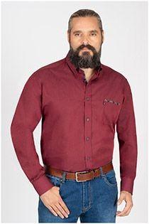Effen lange mouw overhemd Plusman