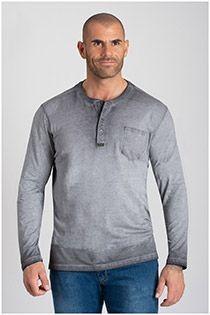 Redfield lange mouw shirt met serafino-kraag