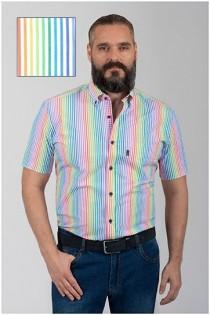 Korte mouw gestreept overhemd van Plusman.