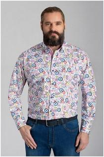 Lange mouw bedrukt overhemd van Plusman