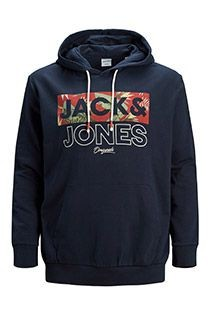 Jack & Jones fleece hoodie met borstprint