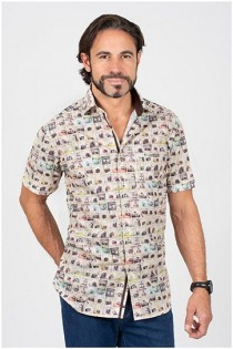 Allover print korte mouw overhemd van Plusman