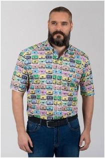 Korte mouw overhemd van Plusman met all-over print