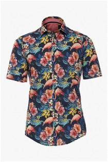 Casamoda all-over bedrukt korte mouw overhemd