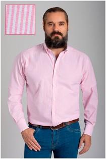Gestreept extra lang overhemd van Plusman.