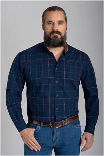 Extra lang ruiten overhemd van Plusman