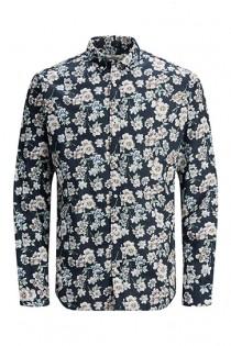 Bedrukt linnen lange mouw overhemd van Jack & Jones