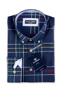 Ruiten extra lang overhemd van Plusman